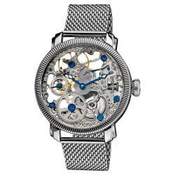 Akribos XXIV Men's Stainless Mechanical Skeleton Mesh Bracelet Watch