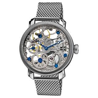 Akribos XXIV Men's Stainless Mechanical Skeleton Mesh Silver-Tone Bracelet Watch