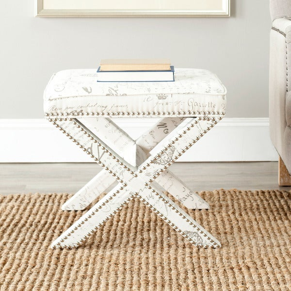 Safavieh X-Bench Nailhead French Script White Ottoman