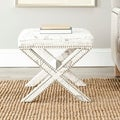 X-Bench Nailhead French Script White Ottoman