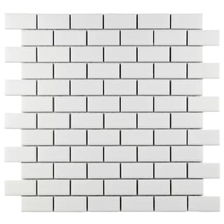 SomerTile 11.75x11.75-inch Victorian Subway Matte White Porcelain Mosaic Tiles (Set of 10)