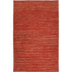 Hand-woven Red Doctra Natural Fiber Hemp Rug (8' x 11')