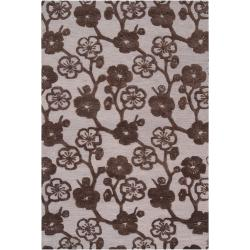 Hand-tufted Brown Belle Towers New Zealand Wool Rug (9' x 13')