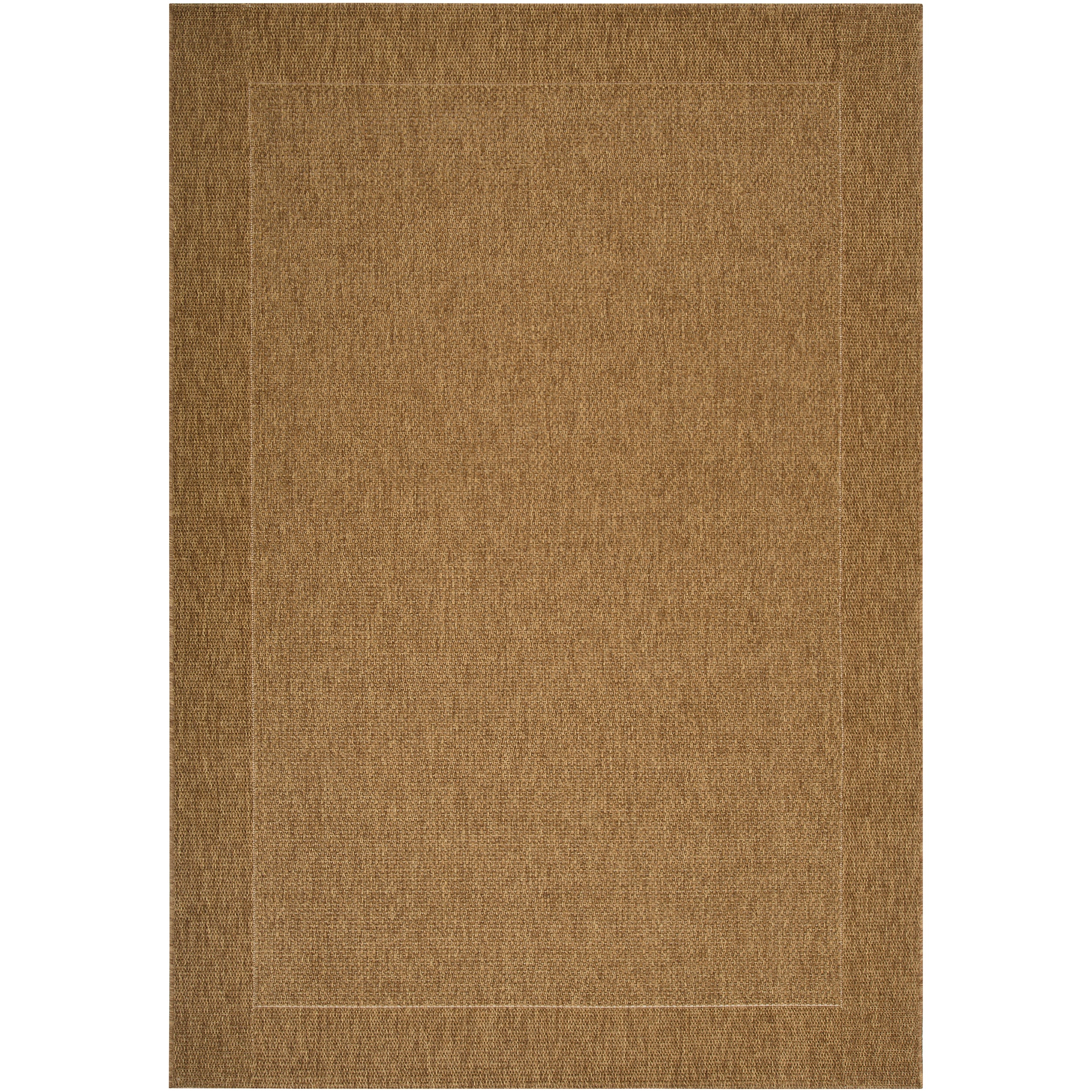 Woven Tan Indoor Outdoor Border Rug 3 11 x 5 7