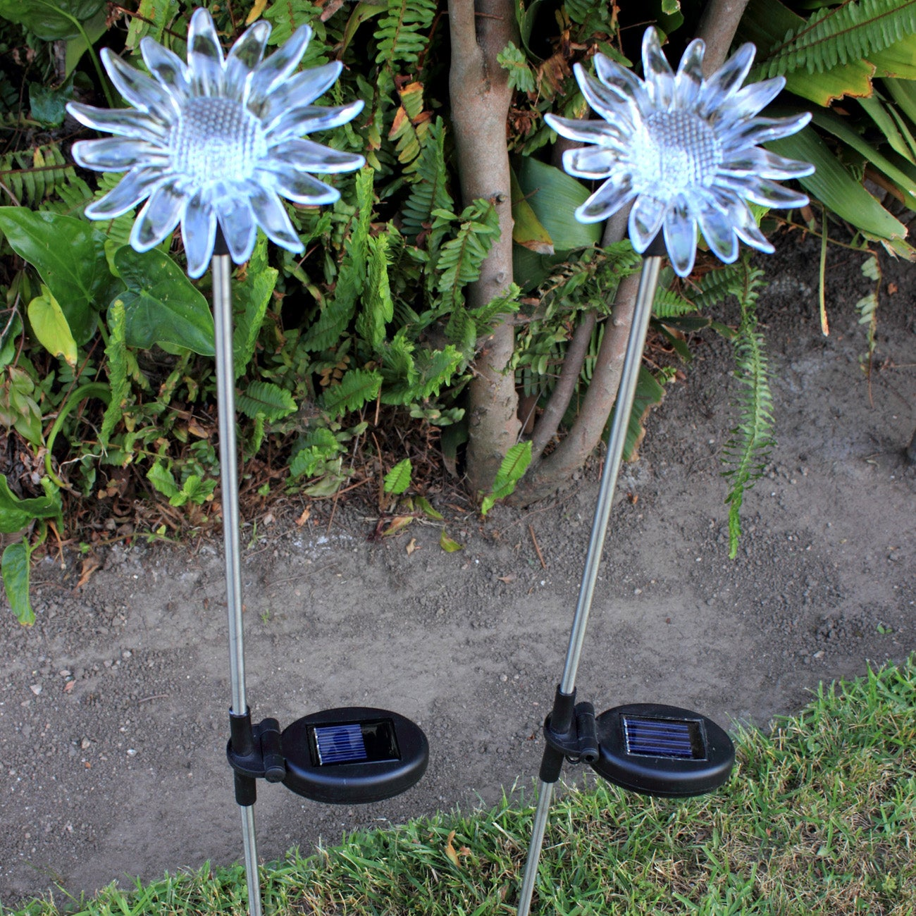 Sunflower solar change color garden stakes set of 2 overstock shopping great deals on for Solar garden stakes color changing
