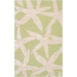 Somerset Bay Hand-tufted Bacelot Bay Wool Green Beach Inspired Wool (8' x 11')