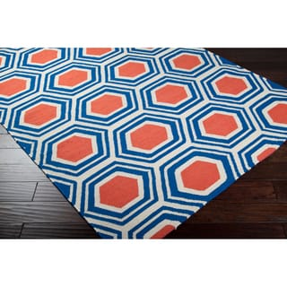 Jill Rosenwald Hand-Woven Blue and Red Faller Wool Rug (8' x 11')