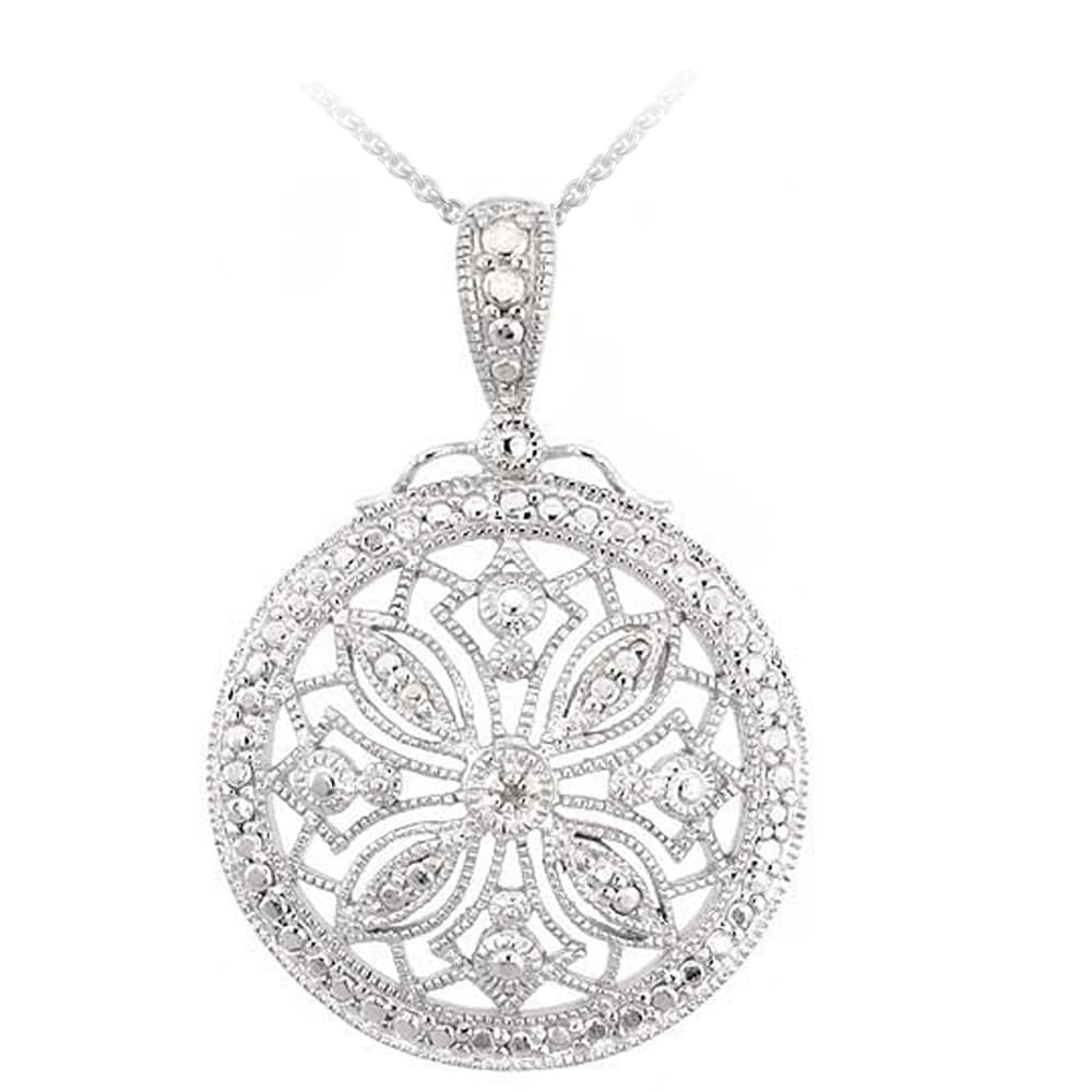 DB Designs Sterling Silver White Diamond Accent Medallion Vintage Snowflake Necklace
