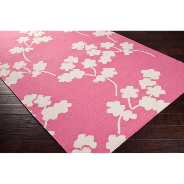 Jill Rosenwald Hand-woven Pink Faller Wool Rug (8' x 11')