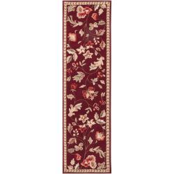 Hand-hooked Red Tarouba Wool Rug (2'3 x 8')