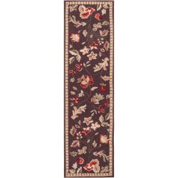 Hand-hooked Brown Tarouba Wool Rug (2'3 x 8')