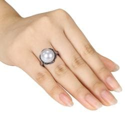 Miadora Silver FW Pearl and 1/10ct TDW Black Diamond Ring (12-12.5 mm)