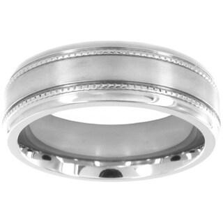 Titanium Grain Inlay Brushed Ring