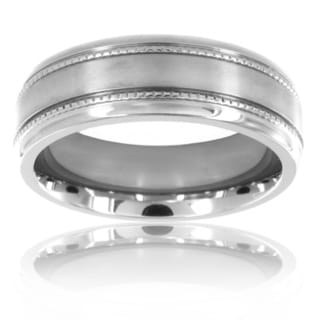 Titanium Grain Inlay Brushed Ring