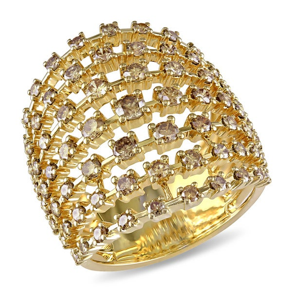 Miadora 18k Yellow Gold 2 1/8ct TDW Brown Diamond Ring