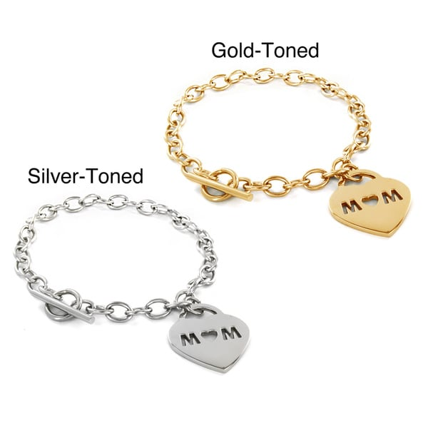 Stainless Steel 'Mom' Heart Charm Toggle Bracelet