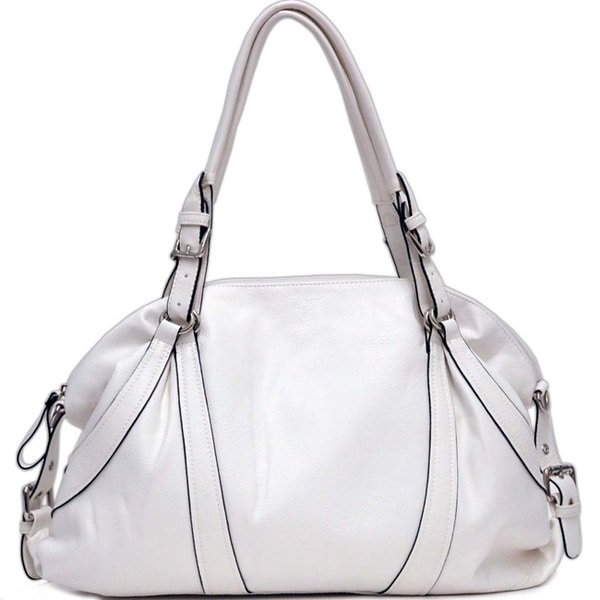 Dasein Faux-leather Zip-top Shoulder Bag with Buckle Embellishments