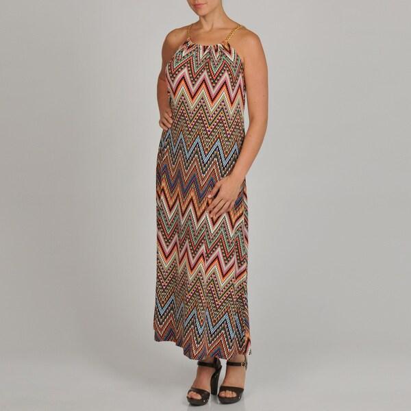 Lennie for Nina Leonard Women's Plus-size Geometric Gold Chain Link Strap Maxi Dress