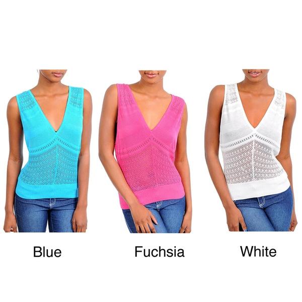 Stanzino Women's V-neck Sleeveless Open-weave Top