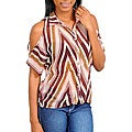 Stanzino Women's Brown Button Down Cut-out Sleeve Shirt