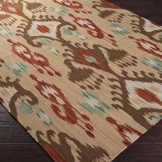 Hand-woven Tan Caroni Wool Rug (5' x 8')