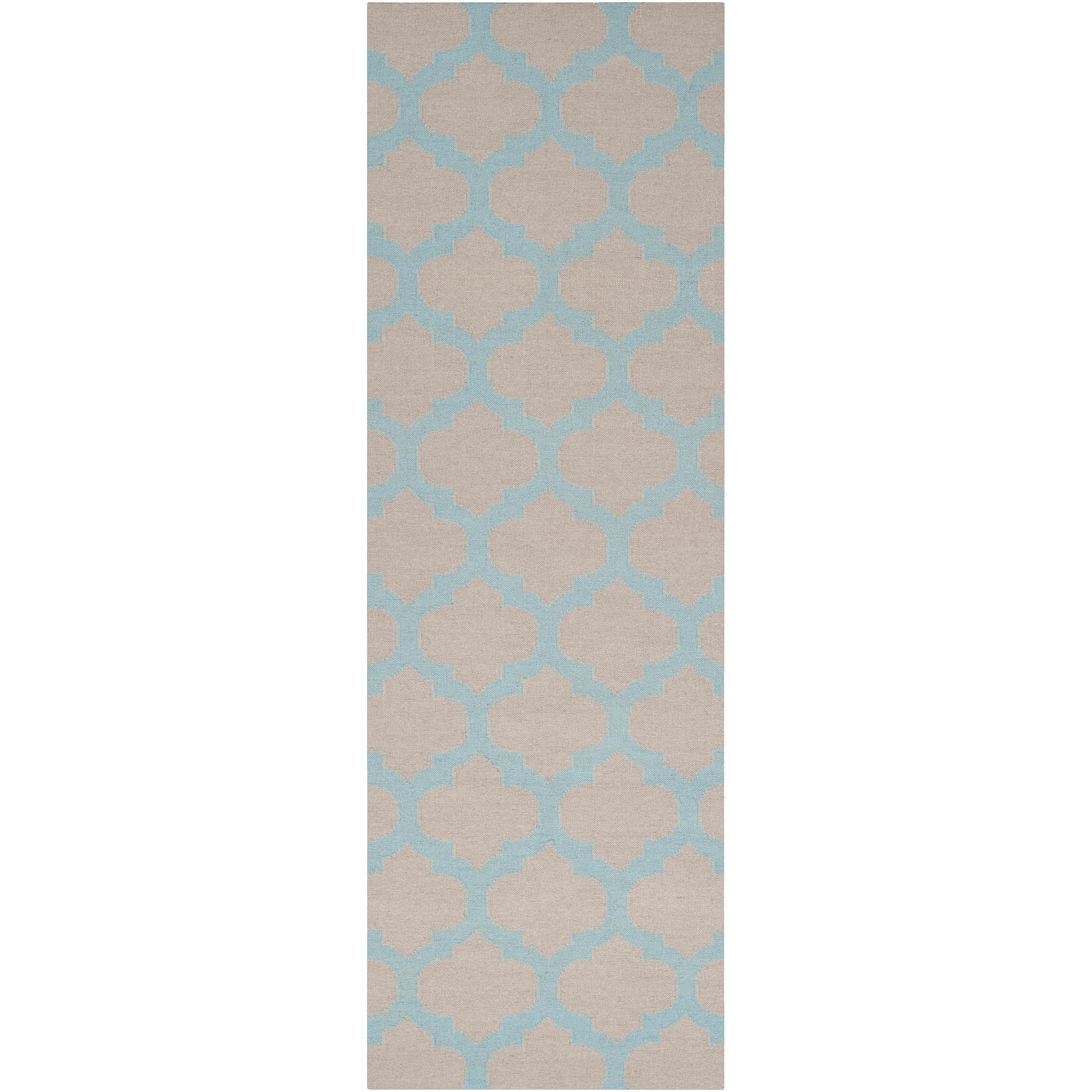Hand-woven Blue Caroni Wool Rug (2'6 x 8')