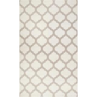 Hand-woven Ivory Moroccan Trellis Caroni Flatweave Wool Area Rug (5' x 8')