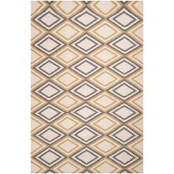 Hand-woven 'Caroni' Ivory Wool Rug (8' x 11')