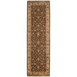 Hand-knotted 'Maraval' Brown Wool Rug (3' x 12')