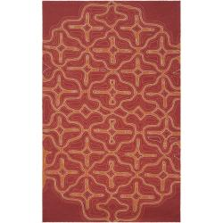 Hand-hooked 'Yarra' Orange Indoor/Outdoor Geometric Rug (5' x 8')