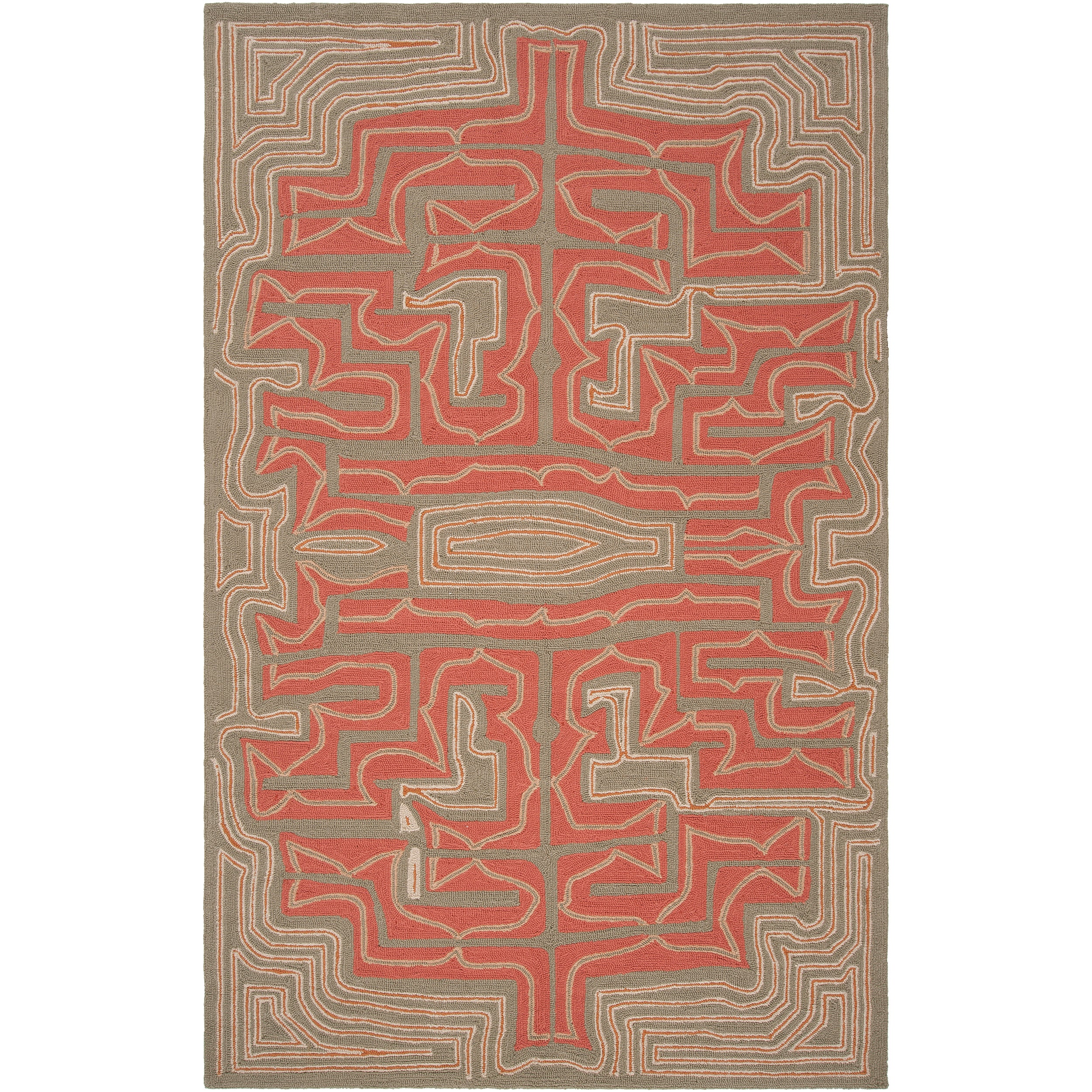 Hand-hooked 'Yarra' Grey Indoor/Outdoor Geometric Rug (9' x 12')