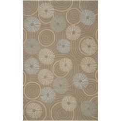 Hand-hooked 'Yarra' Grey Indoor/Outdoor Floral Rug (9' x 12')