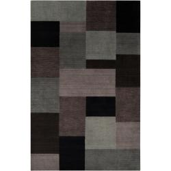 Loomed 'Lunan' Grey Geometric Patches Wool Rug (8' x 11')