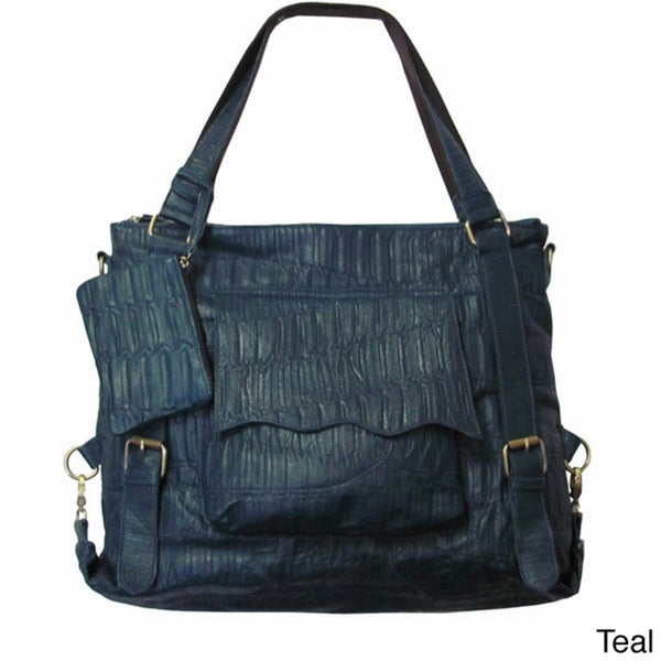 Amerileather Jumbo Cosimo Crunched Leather Tote/Shoulder Bag