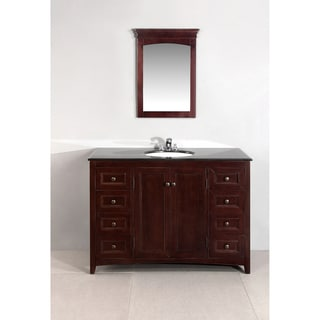 Windsor Walnut Brown 48-inch Bath Vanity with 2 Doors and Black Granite Top