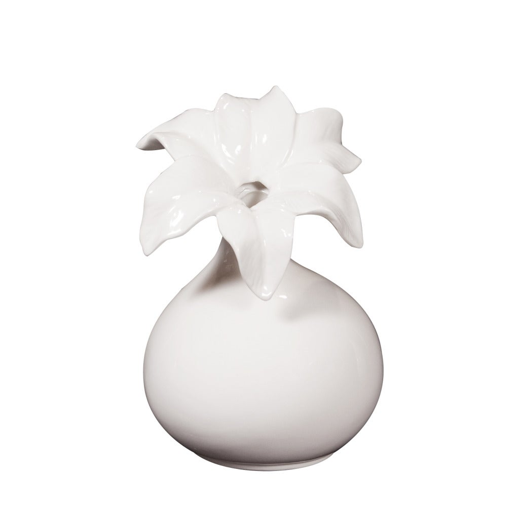 Floral White 10-inch Ceramic Pitcher