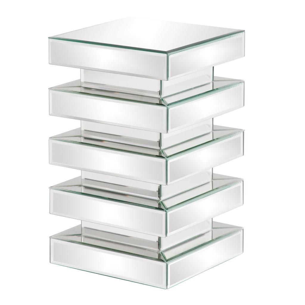 Stepped 20-inch Glass Mirror Pedestal