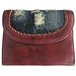 Amerileather Woman's Trey Leather/ Denim Wallet