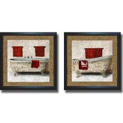 Elizabeth Medley 'Crazed Relaxation I and II' Framed 2-piece Canvas Art Set