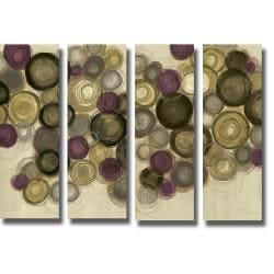Jeni Lee 'Purple Whimsy Panel I, II, III, and IV' 4-piece Canvas Art Set
