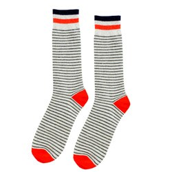 FineFit Women's Grey/ Orange Stripe Boot Socks