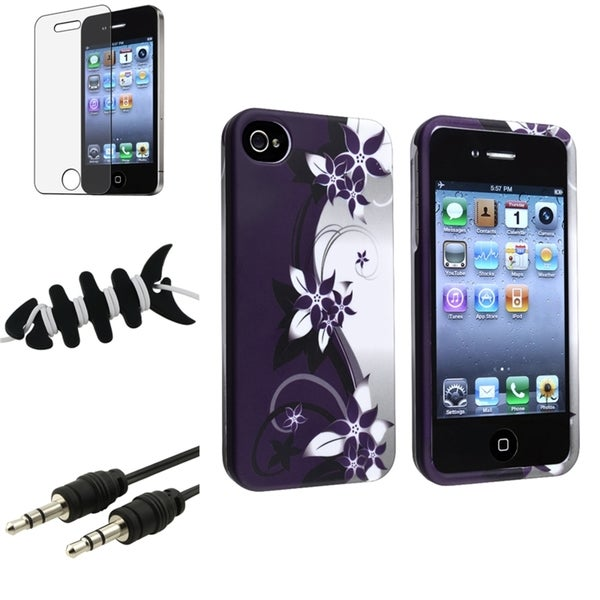 Purple Case/ Screen Protector/ Wrap/ Cable for Apple iPhone 4/ 4S