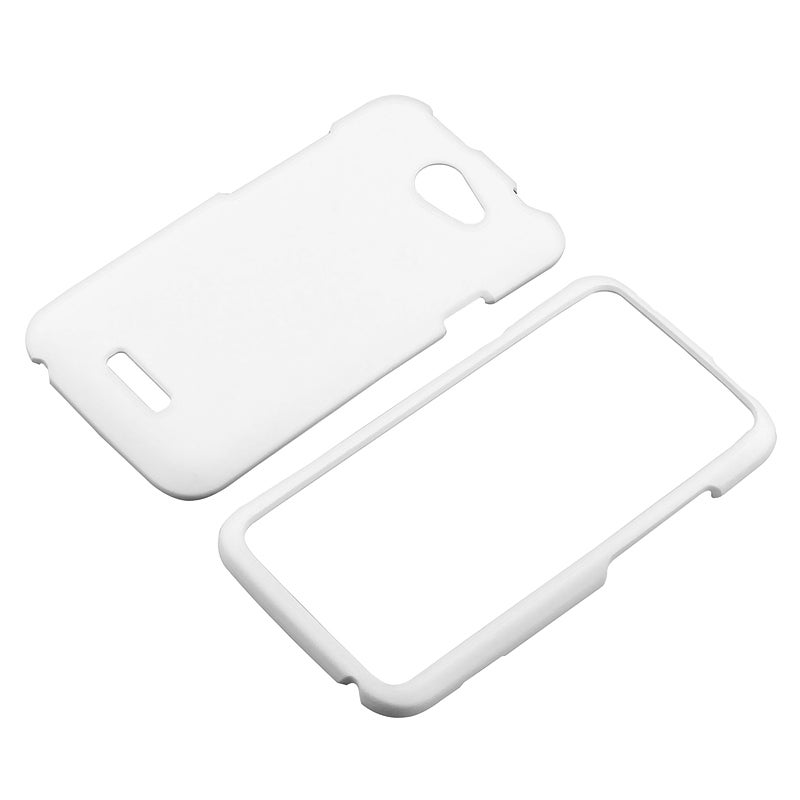 White Snap-on Rubber Coated Case for HTC One X