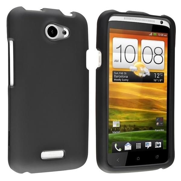 INSTEN Black Snap-on Rubber Coated Phone Case Cover for HTC One X