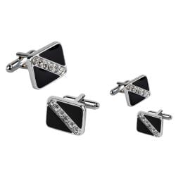 Black Square Six Jewel Cufflinks (Set of 2)