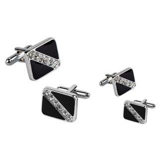Zodaca Black Square Six Jewel Cufflinks (Set of 2)