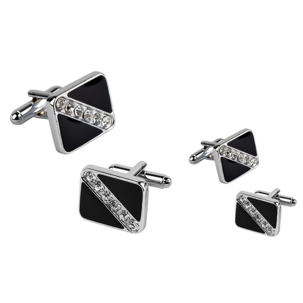 Zodaca Black Square Six Jewel Cufflinks (Set of 2)