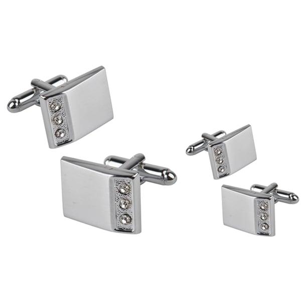 Zodaca Silver Rectangle Three Jewel Cufflinks (Set of 2)