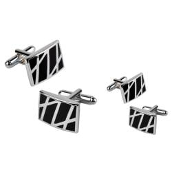 Black/ Silver Rectangle Cufflinks (Set of 2)