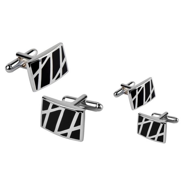 Zodaca Black/ Silver Rectangle Cufflinks (Set of 2)